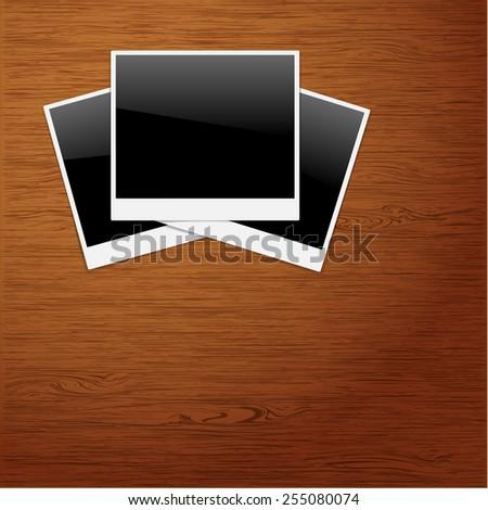 Polaroid Photo Frames on Wooden background.  Illustration, vector. - stock vector