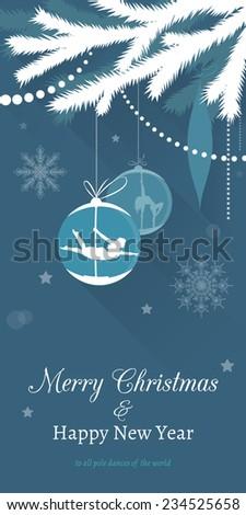 Pole dance Christmas Cards. Christmas Tree with Pole Dancing Christmas Ornaments - stock vector