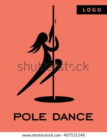 Pole dance logo - stock vector