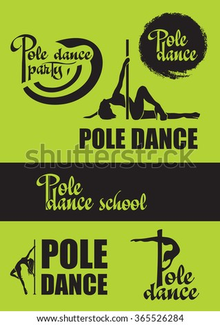 Pole dance logo set - stock vector