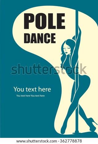 Pole dance poster - stock vector