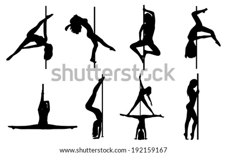Pole dance women silhouettes. EPS 10 format.