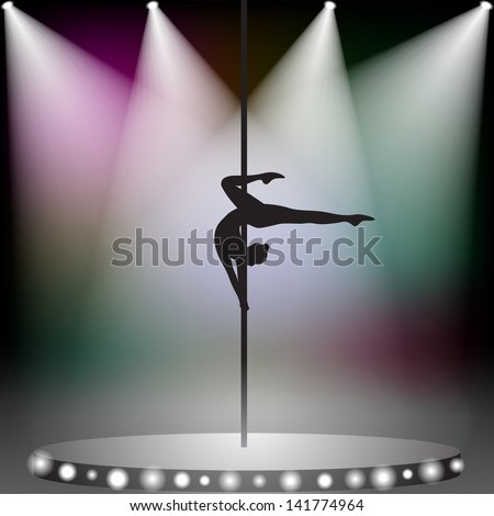 Pole dancer on stage with spotlights - stock vector