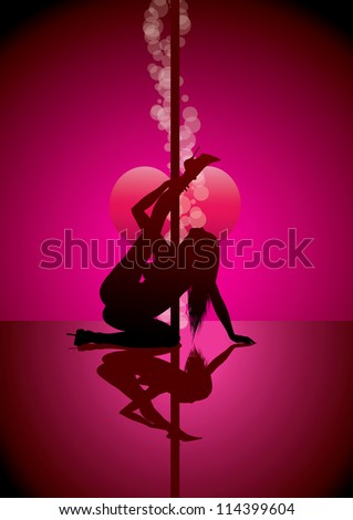 pole dancer silhouette (also available jpg version) - stock vector