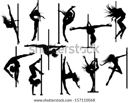 Pole dancer silhouettes. Vector set - stock vector