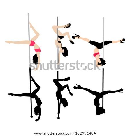 Pole dancer vector silhouettes - stock vector