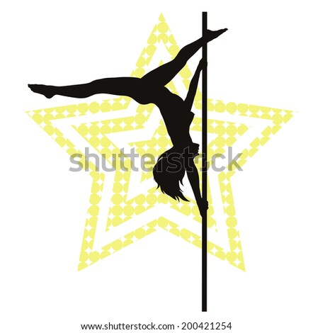 Pole dancer woman on star background. Vector silhouette - stock vector