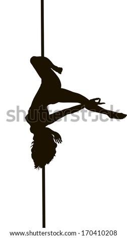 Pole dancer woman vector silhouette - stock vector