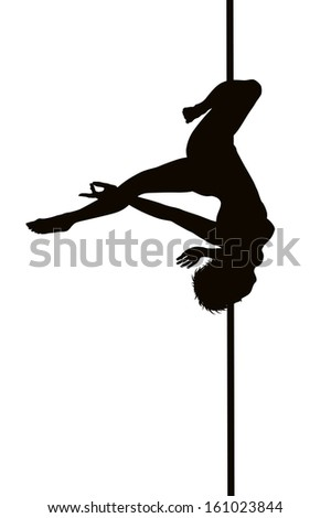 Pole dancer woman vector silhouette. Separate layers - stock vector