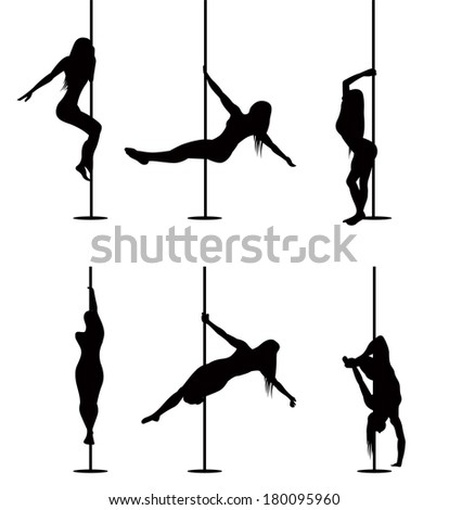 Pole dancers sexy silhouettes. The vector illustration of a set of pole. - stock vector