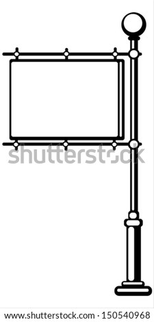pole with a banner on white background