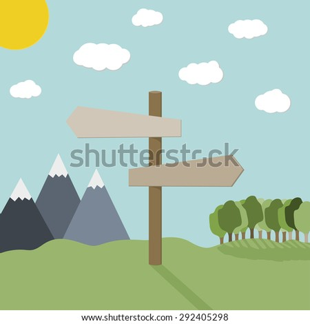 Pole with arrows sign in nature, with place for text. - stock vector