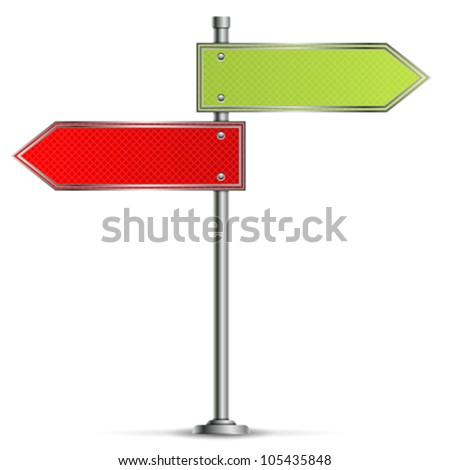 Pole with Blank Red and Green Road Signs, vector illustration - stock vector