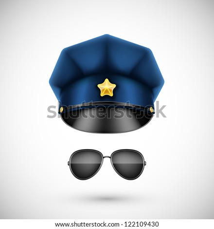 Police accessories (hat and glasses). Eps 10 - stock vector