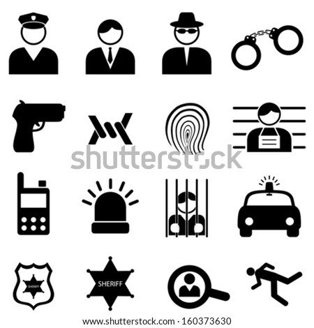 Police and crime icon set - stock vector