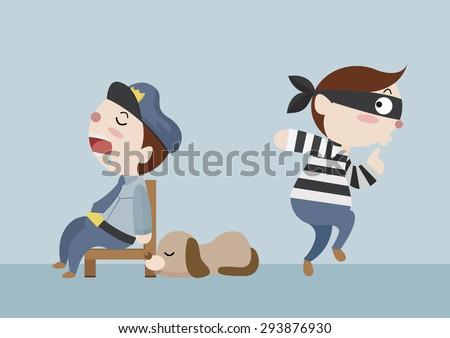 police and dog sleep while thief stealth cartoon vector - stock vector
