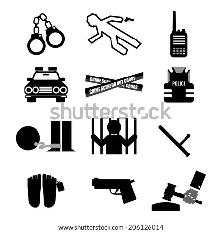 Police And Law Icon Set Vector Illustration - stock vector