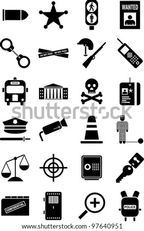 police and law icons - stock vector