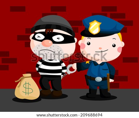 Police and Robber - stock vector