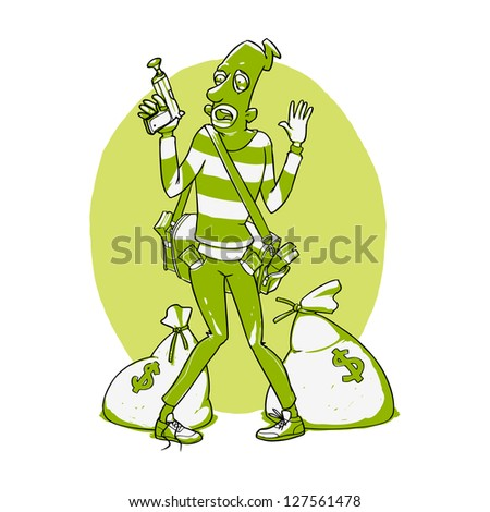 Police arrested the criminal. Vector illustration. Easy recoloring - stock vector