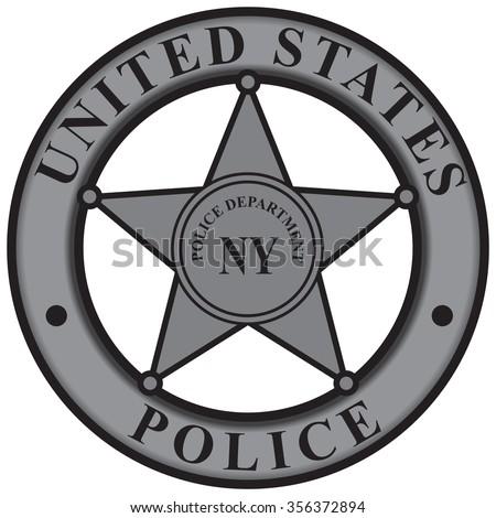 Police badge New York Police Department. Vector illustration. - stock vector