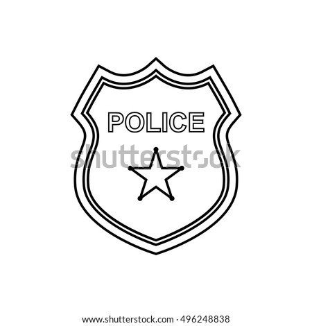 police badge outline icon on the white background vector design