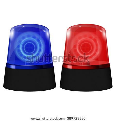 Police blue and red siren. Flashing emergency light. Vector isolated on white background. Illustration. - stock vector