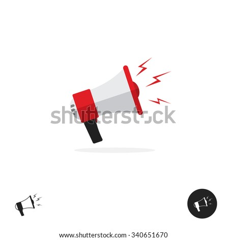 Police bullhorn logo flat icon isolated on white background. Police megaphone horn equipment tool design ribbon. Shouting bullhorn vector illustration with sound lightning waves in red color. - stock vector