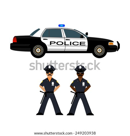 Police car and policemen, officer. Vector illustration - stock vector