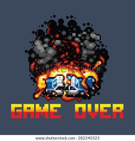 police car explosion and game over message retro pixel art style illustration