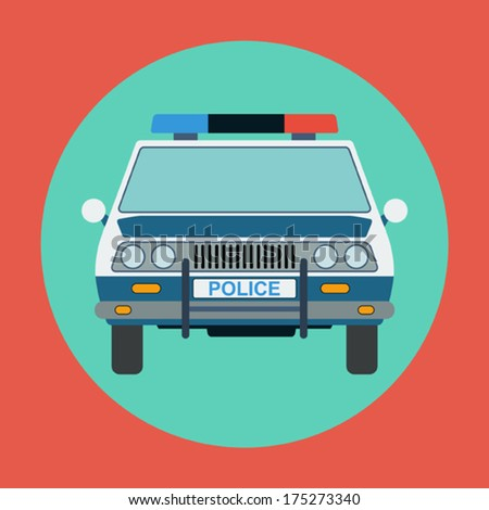 Police car flat vector illustration