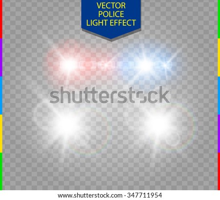 police car glow special light effect with headlights on transparent background - stock vector