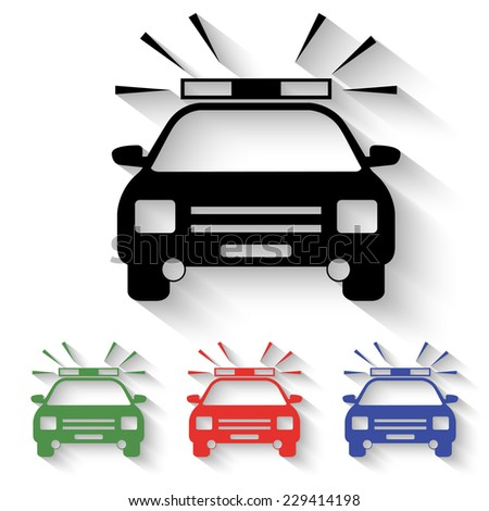 police car icon - black and colored (green, red, blue) illustration with shadow - stock vector