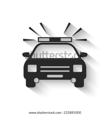 police car icon - gray vector illustration with shadow - stock vector
