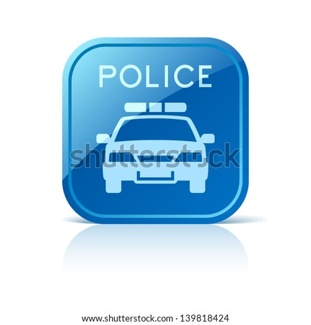 Police car icon on blue square button - stock vector