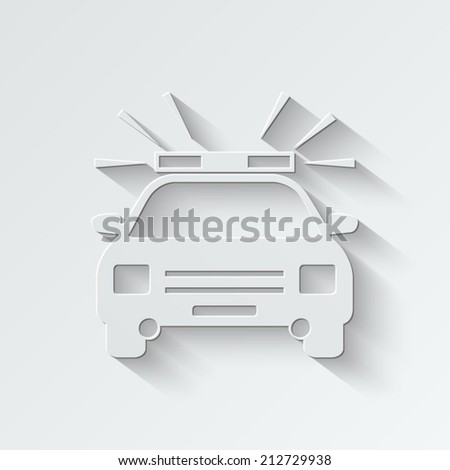 Police Car icon - paper vector illustration with shadow on light background - stock vector