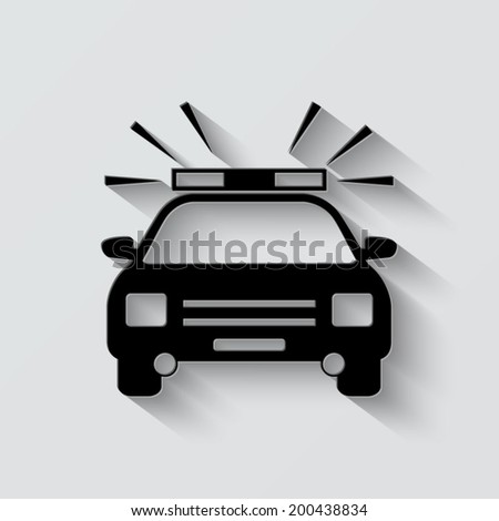 Police Car icon - vector illustration with shadow on light background - stock vector