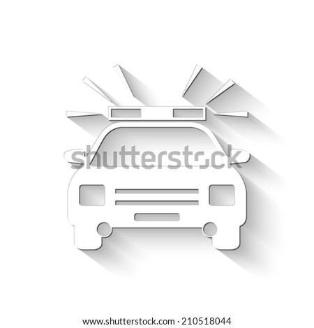 Police Car icon - white vector illustration with shadow - stock vector