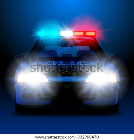 Police car in night with lights in frontal view. Vector illustration - stock vector