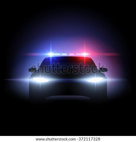 Police car lights effect - stock vector