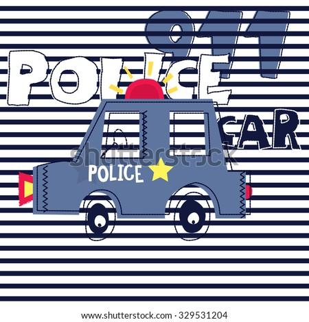 police car on striped background, T-shirt design vector illustration - stock vector
