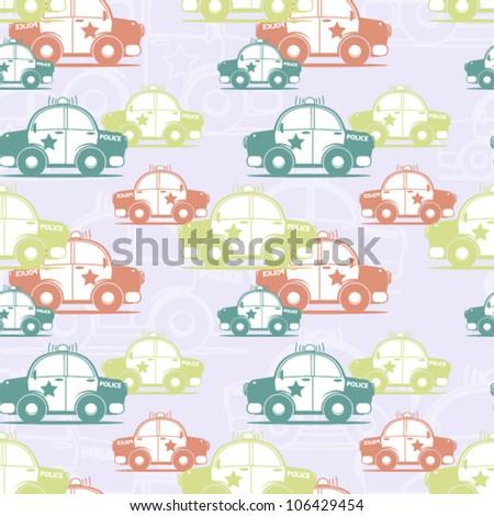 Police car seamless pattern. Vector illustration - stock vector