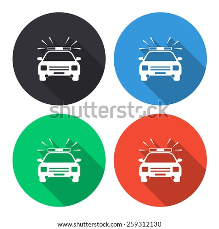 police car vector icon - colored(gray, blue, green, red) round buttons with long shadow - stock vector