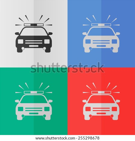 Police car vector icon. Effect of folded paper. Colored (red, blue, green) illustrations. Flat design - stock vector