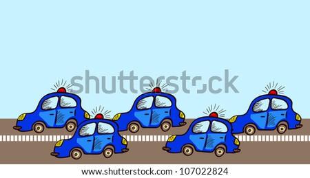 Police cars - stock vector