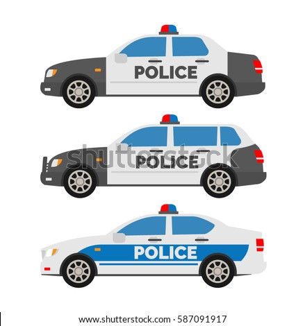 police cars side view on white background