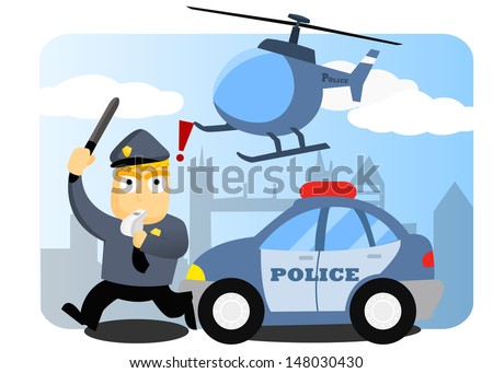 Police Chasing - stock vector