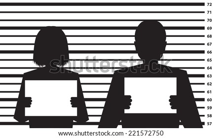 Police criminal record with man and woman silhouette - illustration - stock vector
