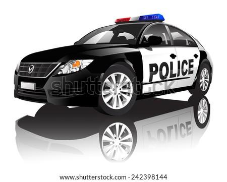 Police 3D car vector - stock vector