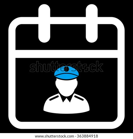 Police Date vector icon. Style is bicolor flat symbol, blue and white colors, rounded angles, black background. - stock vector